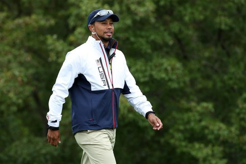Sep 28 2016 Chaska MN USA Team USA vice-captain Tiger Woods walks the 10th green during the practice round for the Ryder Cup at Hazelti