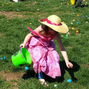Girl Hunts Easter Eggs
