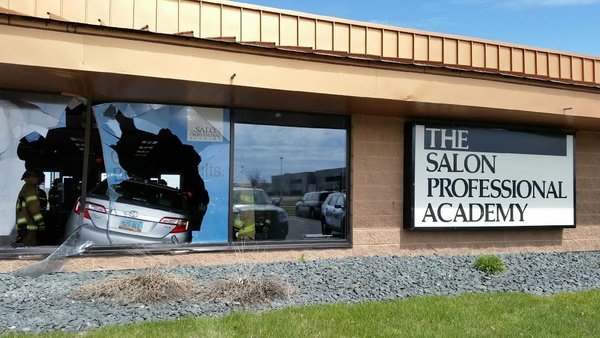 Video car careens through window at fargo salon news for Academy for salon professional