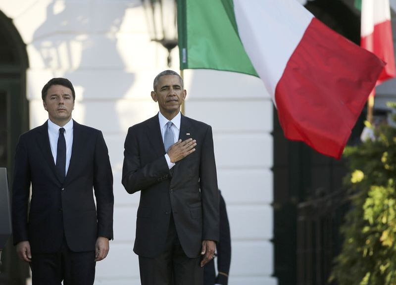 Obama formally welcomes Italy's Renzi to US