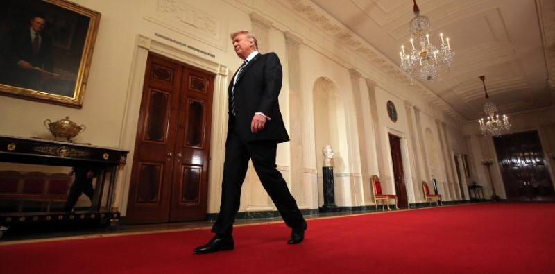 U.S. President Donald Trump arrives to announce his nomination of Neil Gorsuch for the empty associate justice seat of the U.S. Supreme Cour