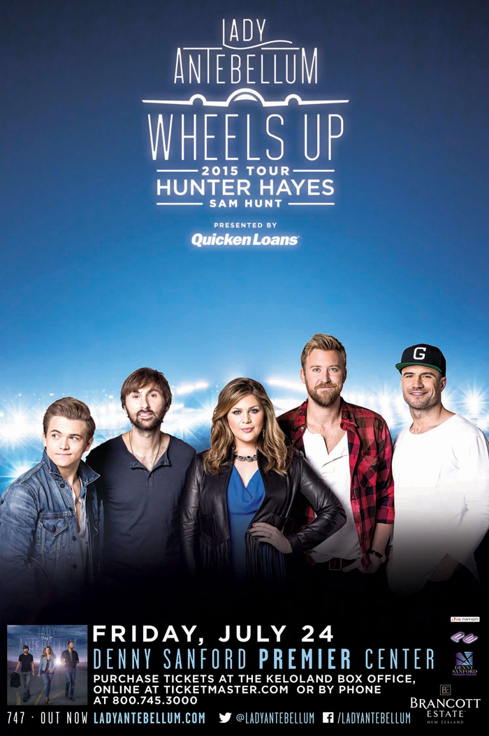 Lady antebellum in concert big country 925 ktwb sioux falls sd big country 925 ktwb welcomes lady antebellum and their wheels up tour friday july 24th to the denny sanford premier center hunter hayes and sam hunt m4hsunfo