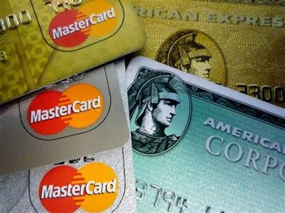 American Express and MasterCard credit cards are shown in Washington in this June 25, 2008 file photo. REUTERS/Jim Bourg