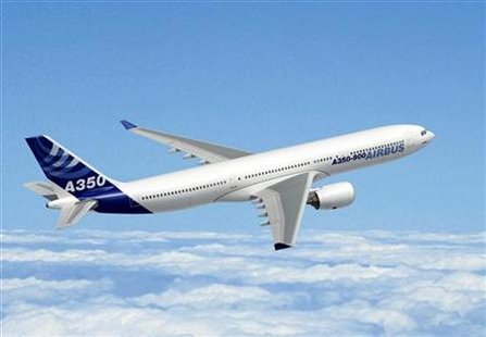 An Airbus A350-900, a mid-sized, long-haul aircraft, is seen in this computer generated handout image released by Airbus Industries on October 7, 2005. REUTERS/Handout