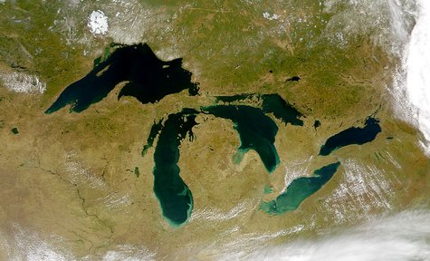 Satellite image of the Great Lakes from space By SeaWiFS Project, NASA/Goddard Space Flight Center, and ORBIMAGE. (http://visibleearth.nasa.gov/view_rec.php?id=793) [Public domain], via Wikimedia Commons