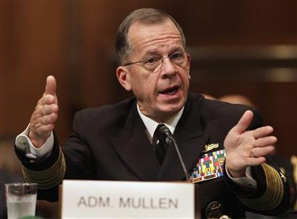 Admiral Michael Mullen testifies before a Senate Armed Service Committee hearing on his nomination for reappointment to the grade of admiral and reappointment as the Chairman of the Joint Chiefs of Staff on Capitol Hill in Washington September 15, 2009. REUTERS/Yuri Gripas