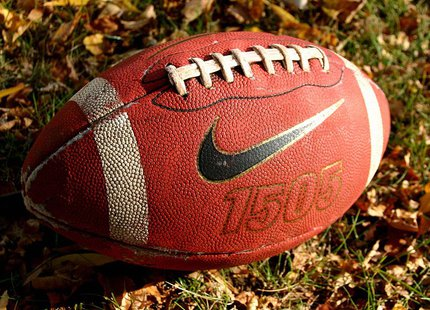 This is a picture of an American football in the Fall. By Dsw4 (Own work) [Public domain], via Wikimedia Commons