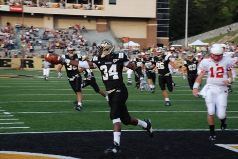 WMU's Jamail Berry scores after recovering a fumble on the first play from scrimmage.  (Sean Patrick, WKZO.COM)