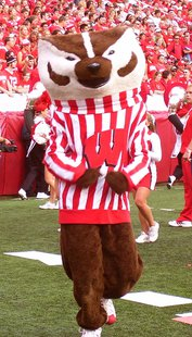 "Bucky Badger, mascot of the University of Wisconsin. By Flickr user ""Stephanie Caine"" [CC-BY-2.0 (http://creativecommons.org/licenses/by/2.0)], via Wikimedia Commons"