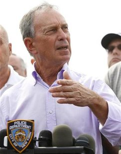 New York Mayor Michael Bloomberg answers questions during a news conference near the site of a crash between a sight seeing helicopter and a small fixed wing aircraft over the Hudson River, in New York, August 8, 2009. REUTERS/Chip East
