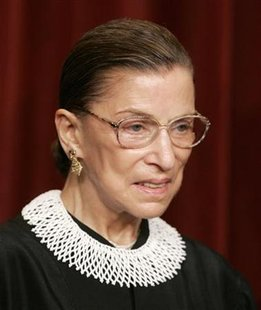 Justice Ruth Bader Ginsburg stands as Justices of the Supreme Court of the United States pose for a 2006 class photo inside the Supreme Court in Washington in this March 3, 2006 file photo.