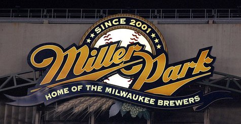 The logo for the Milwaukee Brewer's home stadium Miller Park inside the stadium. By Alorrigan (Own work) [CC-BY-SA-3.0 (http://creativecommons.org/licenses/by-sa/3.0)], via Wikimedia Commons