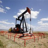 A Canadian Natural Resources pump jack pumps oil out of the ground near Dorothy, Alberta, June 30, 2009. CNR is a large Canadian energy producer. REUTERS/Todd Korol