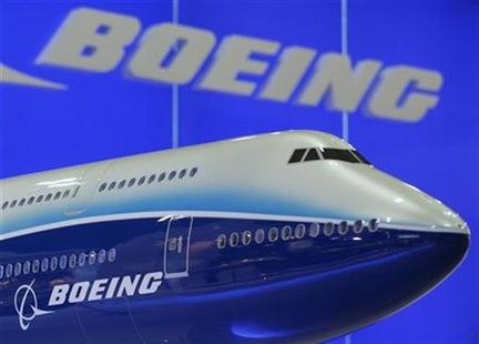 A model of Boeing 747 passenger plane is displayed at the Asian Aerospace Expo in Hong Kong September 8, 2009. REUTERS/Bobby Yip