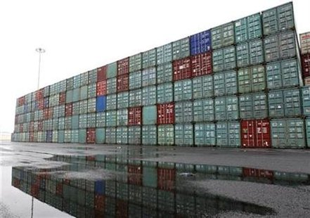 Empty containers are stacked at the Port Newark Container Terminal near New York City in Newark, New Jersey in this picture taken July 2, 2009. REUTERS/Mike Segar