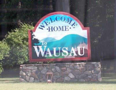The welcome sign for Wausau, Wisconsin, USA along Wisconsin Highway 52.