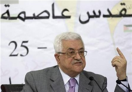 Palestinian President Mahmoud Abbas attends a Palestinian Liberation Organization (PLO) central committee meeting in the West Bank city of Ramallah October 24, 2009. REUTERS/Fadi Arouri