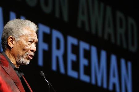 Actor Morgan Freeman addresses his speech after getting the Golden Icon Award at Zurich's Film Festival October 3, 2009. REUTERS/Christian Hartmann