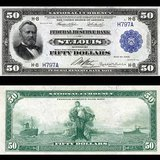 $50 Federal Reserve Bank Note (1918) depicting Ulysses S. Grant. Godot13 / Smithsonian Institute [Public domain or CC-BY-SA-3.0 (http://creativecommons.org/licenses/by-sa/3.0)], via Wikimedia Commons