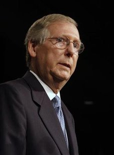 U.S. Senator Mitch McConnell (R-KY) addresses campaign supporters during his election night party in Louisville, Kentucky, in this November 4, 2008 file photo. REUTERS/John Sommers II/Files