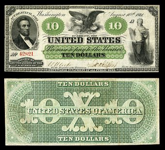 "Demand Notes, Series 1861, were issued by the United States in $5, $10, and $20 denominations. The term ""Greenback"" originated with these note, the earliest issue of the U.S. Government Godot13 / Smithsonian Institute [Public domain or CC-BY-SA-3.0 (http://creativecommons.org/licenses/by-sa/3.0)], via Wikimedia Commons"