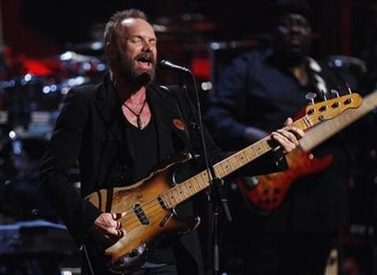 Musician Sting performs during the first of two 25th Anniversary Rock & Roll Hall of Fame concerts in New York October 29, 2009. REUTERS/Lucas Jackson