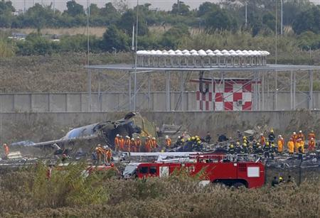 Rescuers search the wreckage of a cargo plane that crashed during take-off at Pudong airport in Shanghai, November 28, 2009. REUTERS/Stringer