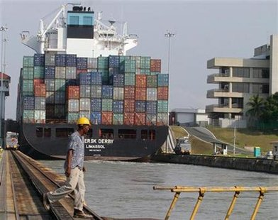 A container ship moves through the Panama Canal on its way to the Atlantic ocean in a file photo. REUTERS/File