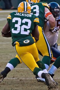 Brandon Jackson at Lambeau Field - January 2, 2011. By Mike Morbeck [CC-BY-SA-2.0 (http://creativecommons.org/licenses/by-sa/2.0)], via Wikimedia Commons