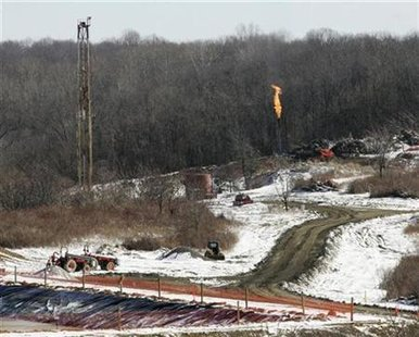 A gas drilling site on the Marcellus Shale is seen in Hickory, Pennsylvania February 24, 2009. At a time when America is stepping up efforts to reduce its dependence on foreign energy, the Marcellus appears to offer an abundant alternative close to America's biggest natural gas market, the northeast. REUTERS/ Jason Cohn