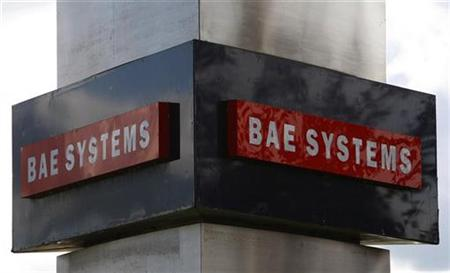 A BAE systems sign is seen outside the company's Warton site near Preston, northern England, October 1, 2009. REUTERS/Phil Noble