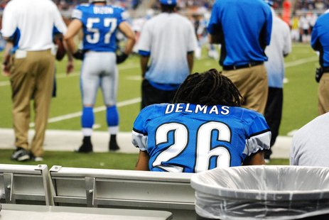 Former WMU Broncos Safety Louis Delmas watches as the Lions fall 37-23 Sunday at Ford Field.  (Sean Patrick, WKZO.COM)