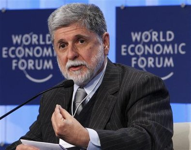 Brazil's Foreign Minister Celso Amorim attends a session at the World Economic Forum (WEF) in Davos January 28, 2010. REUTERS/Arnd Wiegmann