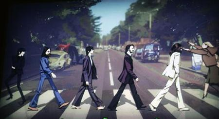 "The Beatles are shown crossing Abbey Road in a scene from the new video game ""The Beatles: Rock Band"" at the Microsoft XBox 360 E3 2009 media briefing in Los Angeles June 1, 2009. REUTERS/Fred Prouser"
