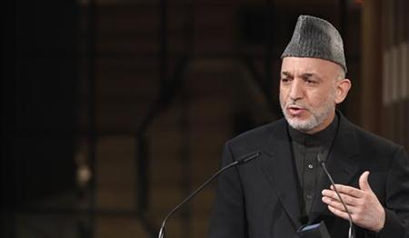 Afghan President Hamid Karzai holds his speech during the third day of the 46th Conference on Security Policy in Munich February 7, 2010. REUTERS/Michaela Rehle