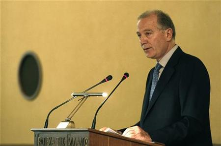 Greece's Central Bank Governor George Provopoulos delivers a speech at annual shareholders meeting in Athens April 15, 2009. REUTERS/Yiorgos Karahalis