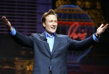 Conan O'Brien gestures at the 2005 International Consumer Electronics Show in Las Vegas January 5, 2005. REUTERS/Mike Blake