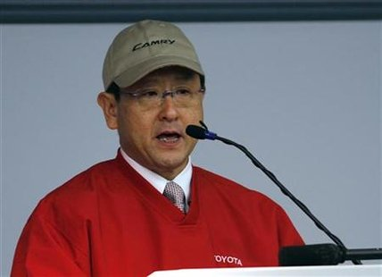 Toyota Motor Corporation President and CEO Akio Toyoda addresses employees at the Toyota Motor Manufacturing Plant in Georgetown, Kentucky, February 25, 2010. REUTERS/ John Sommers II
