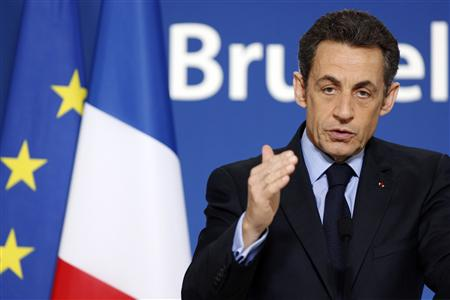 France's President Nicolas Sarkozy addresses a news conference at the end of an European Union leaders summit in Brussels March 26, 2010. REUTERS/Francois Lenoir