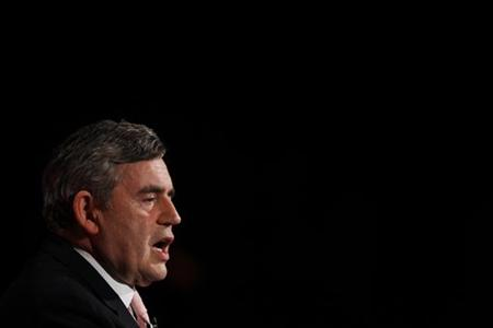 Britain's Prime Minister Gordon Brown delivers his speech at the Scottish Labour Party spring conference in Glasgow, Scotland March 27, 2010.REUTERS/David Moir