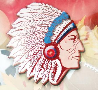A high school Indian chief logo.