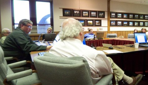 School Board members listen during Tuesday's meeting