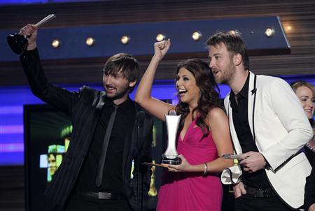 "Lady Antebellum accepts the award for Song Of The Year for ""Need You Now,"" at the 45th annual Academy of Country Music Awards in Las Vegas, Nevada, April 18, 2010. REUTERS/Robert Galbraith"