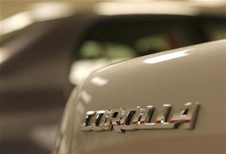 The logo on a 2010 Toyota Corolla automobile is seen at a Toyota dealership in Daly City, California February 17, 2010. REUTERS/Robert Galbraith