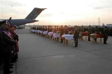 Soldiers stand in front of the coffins of the last victims to be repatriated from the Polish government's Tupolev TU-154 plane crash in Russia, during a ceremony at an airport in Warsaw April 23, 2010. REUTERS/Wojciech Olkusnik/Agencja Gazeta
