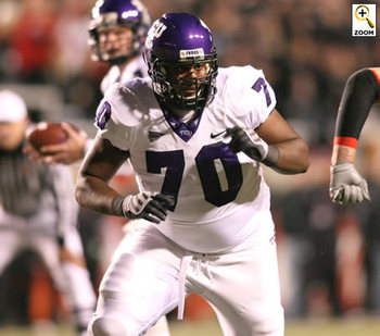 TCU guard Marshall Newhouse, the Green Bay Packers 5th round compensatory pick (courtesy of Sportingnews.com).