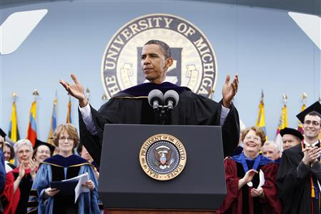 President Barack Obama speaks at the University of Michigan commencement ceremony in Ann Arbor, Michigan May 1, 2010. REUTERS/Kevin Lamarque