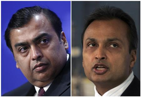 Mukesh Ambani (L), chief of India's Reliance Industries, and Anil Ambani, chairman of Reliance Communications, are pictured in this combination image of file photos. REUTERS/Denis Balibouse/Adeel Halim