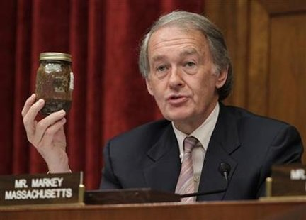 Rep. Edward Markey (D-MA) holds a can of oil collected from the Gulf of Mexico during the Oversight and Investigations Subcommittee of the House Energy and Commerce committee hearing on the Deepwater Horizon Rig Oil Spill on Capitol Hill in Washington May 12, 2010. REUTERS/Yuri Gripas