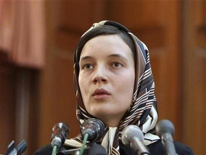 French language teaching assistant Clotilde Reiss testifies during her trial at the Revolutionary court in Tehran August 8, 2009. REUTERS/Fars News
